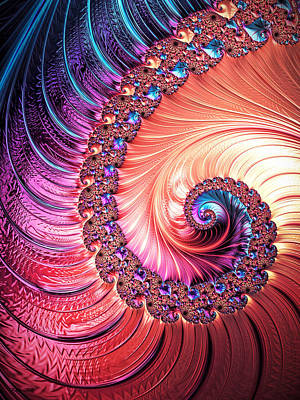 Art Print featuring the digital art Beneath The Sea Spiral by Kathy Kelly