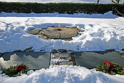 Photograph - Beneath The Snow - The Graves Of President John Kennedy And His Wife Jackie by Cora Wandel