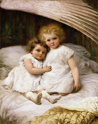 Grils Painting - Beneath The Wing Of An Angel by William Strutt