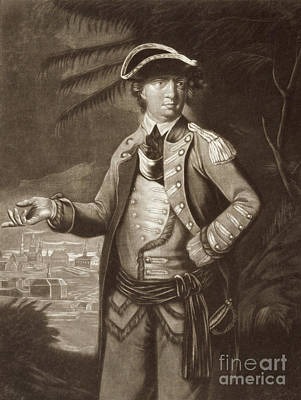 Drawing - Benedict Arnold, After A Portrait Of 1766 With Quebec In The Background by English School