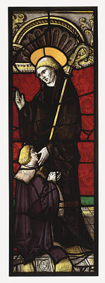Abbot Painting - Benedictine Abbot Saint With A Donor by Celestial Images