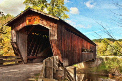 Covered Bridge Painting - Benetka Road Covered Bridge by Dean Wittle