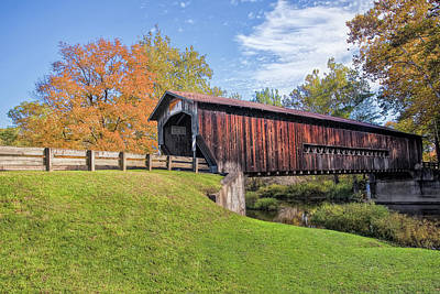 Aged Photograph - Benetka Road Covered Bridge by Marcia Colelli