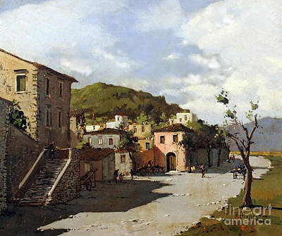 Painting - Provincia Di Benevento-italy Small Town The Road Home by Rosario Piazza