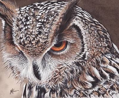 Eagle Painting - Bengal Eagle Owl by Greg and Linda Halom