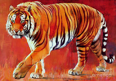 Cat Painting - Bengal Tiger  by Mark Adlington