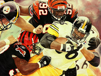 Sports Artist Painting - Bengals Vs Steelers by Douglas Fincham