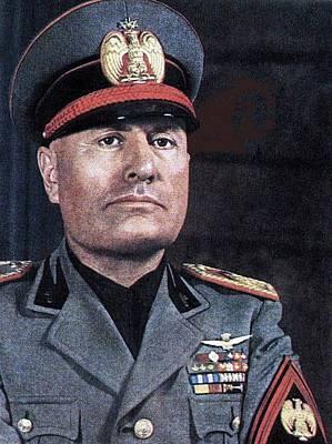 Benito Mussolini Color Portrait Circa 1935 Art Print