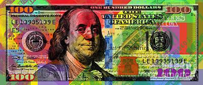 Digital Art - Benjamin Franklin $100 Bill - Full Size by Jean luc Comperat