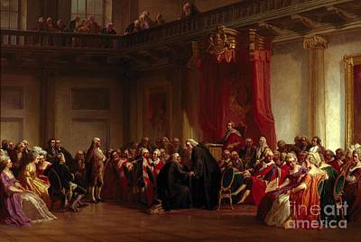 Politics Painting - Benjamin Franklin Appearing Before The Privy Council  by Christian Schussele