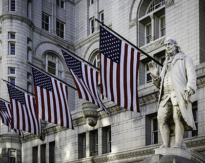 Benjamin Franklin At Old Post Office Art Print by Eduard Moldoveanu