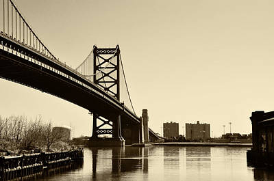 Benjamin Franklin Bridge In Sepia Art Print