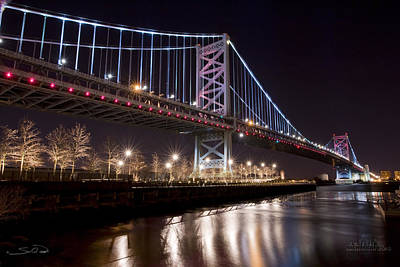 Benjamin Franklin Bridge Art Print by Shane Psaltis