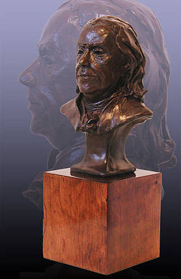 Sculpture - Benjamin Franklin Bronze Bust by John Gibbs