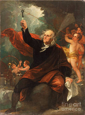 Benjamin Franklin Drawing Electricity From The Sk Art Print by Celestial Images