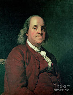 Printer Painting - Benjamin Franklin by Joseph Wright of Derby
