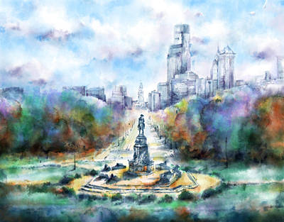 Philadelphia Skyline Painting - Benjamin Franklin Parkway 2 by Bekim Art