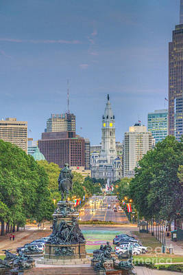 Photograph - Benjamin Franklin Parkway City Hall Vertical by David Zanzinger