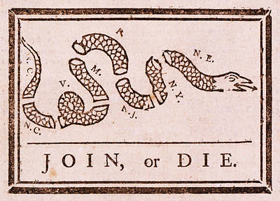 Benjamin Franklin's Join Or Die Political Cartoon Art Print by Janice