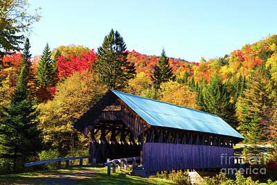 Bennett Covered Bridge In Fall Art Print by Lloyd Alexander