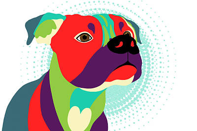 Bennie The Boxer Dog - Wpap Art Print by SharaLee Art