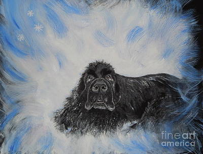Newfoundland Puppy Painting - Bennies Love by Lisa Rose Musselwhite