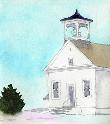 One Room School Houses Painting - Bennington No. 4 School by R Kyllo