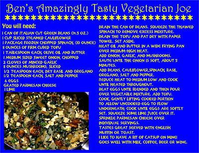 Photograph - Ben's Amazingly Tasty Vegetarian Joe Recipe by Ben Upham III