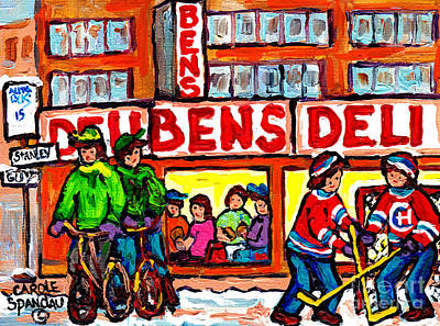 Painting - Ben's Deli Montreal Memories  Winter City  Scene Painting Hockey Art Canadian Artist Carole Spandau by Carole Spandau