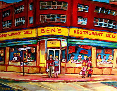 Verdun Connections Painting - Ben's Delicatessen - Montreal Memories - Montreal Landmarks - Montreal City Scene - Paintings  by Carole Spandau