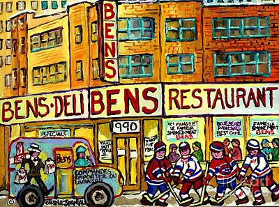Painting - Ben's Famous Smoked Meat Montreal Memories Canadian Paintings Hockey Scenes And Landmarks  C Spandau by Carole Spandau