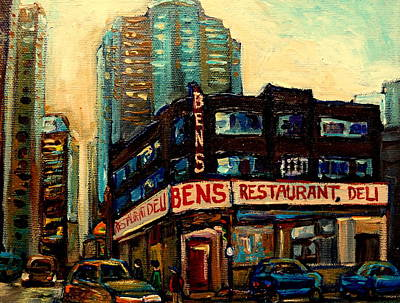 Montreal Buildings Painting - Bens Restaurant Deli by Carole Spandau