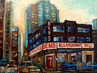 Painting - Ben's Restaurant Montreal Memories Downtown Scenes Montreal Delis Landmark Paintings Canadian Art  by Carole Spandau