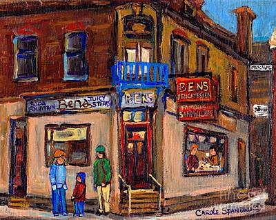 Montreal Memories. Painting - Ben's Restaurant Montreal Memories Rue Metcalfe Juicy Steaks Best Original Jewish Landmark Painting  by Carole Spandau