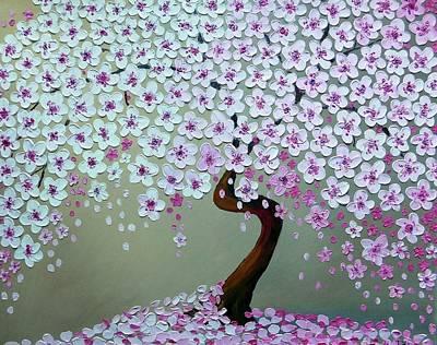 Bent Cherry Blossom Tree Original by Tatiana Zhitnikova