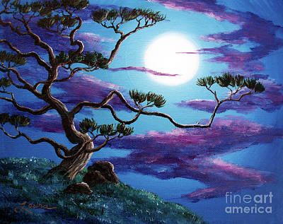 Bent Pine Tree At Moonrise Art Print by Laura Iverson