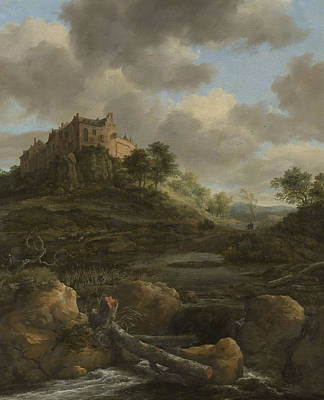 Fresh Water Painting - Bentheim Castle by Jacob Isaackszoon van Ruisdael