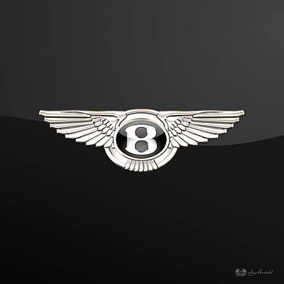 Transportation Photograph - Bentley - 3 D Badge On Black by Serge Averbukh