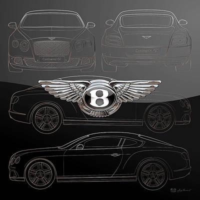 Digital Art - Bentley 3 D Badge Over Bentley Continental G T Coupe Silver Blueprint On Black Special Edition by Serge Averbukh