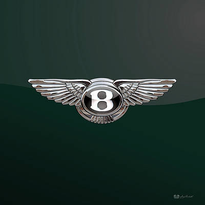 Digital Art - Bentley 3 D Badge Special Edition On Bottle Green by Serge Averbukh
