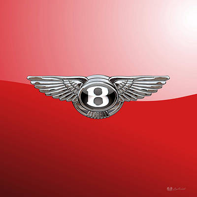 Digital Art - Bentley - 3d Badge On Red by Serge Averbukh