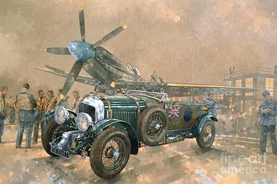 Spitfire Painting - Bentley And Spitfire by Peter Miller