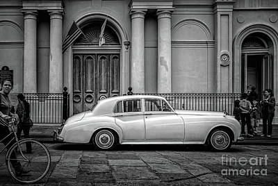 Photograph - Bentley At St. Louis Cathedral In Jackson Square-bw by Kathleen K Parker