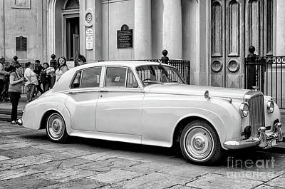 Photograph - Bentley At St. Louis Cathedral-nola-bw by Kathleen K Parker