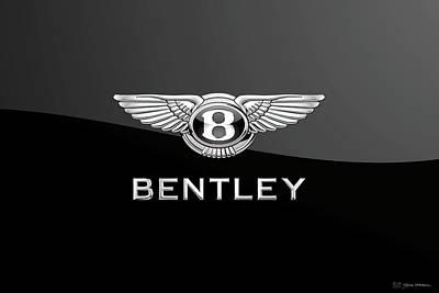 Digital Art - Bentley Badge - Luxury Edition On Black by Serge Averbukh