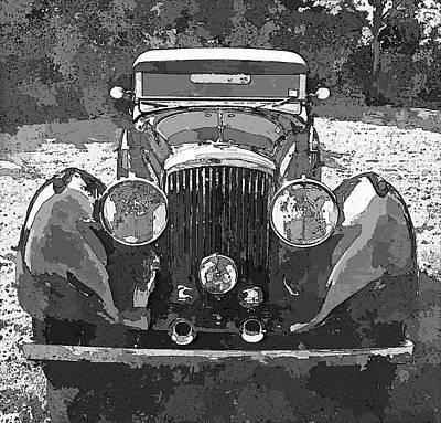 Digital Art - Bentley Black And White Pop Art by David King