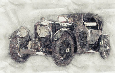 Transportation Mixed Media - Bentley Blower No.1 - Sports Car 1 - Automotive Art - Car Posters by Studio Grafiikka