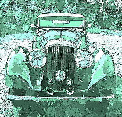 Digital Art - Bentley Blue Green Pop Art P3 by David King