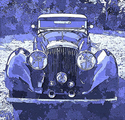 Digital Art - Bentley Blue Pop Art P2 by David King