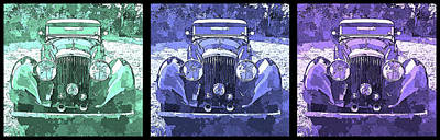 Digital Art - Bentley Blue Pop Art Triple by David King